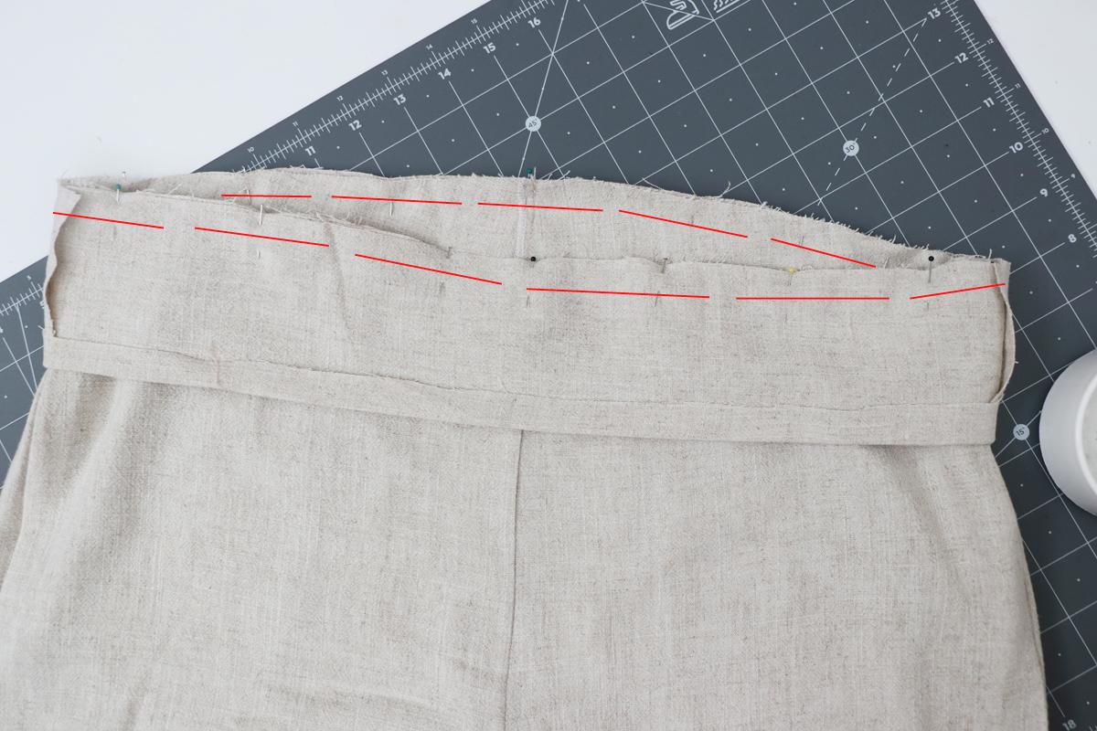 Opal Pants And Shorts - Standard Waistband Tutorial Step 8 - Stitch Waistline Seam