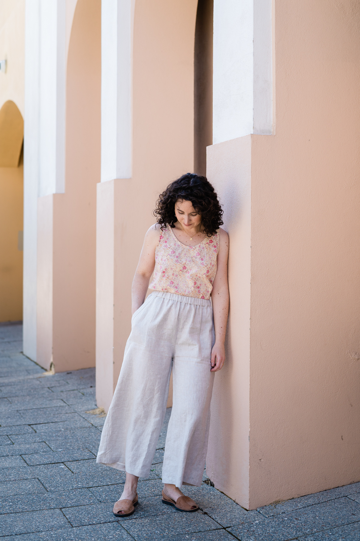 Wide leg linen iso Opal pants by Megan Nielsen paired with the Eucalypt tank in Liberty print
