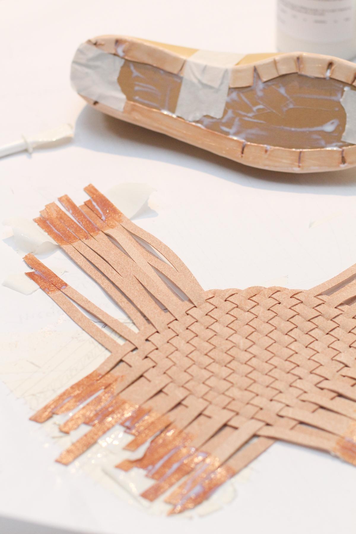 Making Basket Weave Mules - gluing the upper | Megan Nielsen Patterns Blog