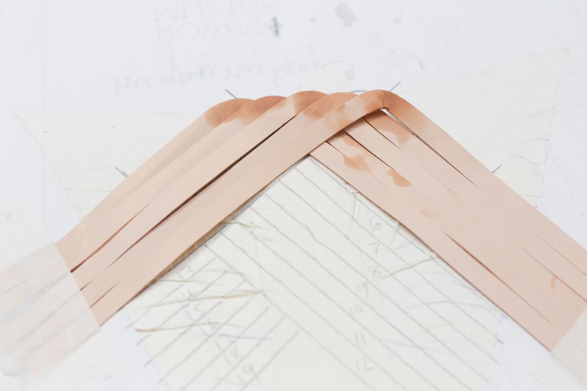 Making Basket Weave Mules curving straps | Megan Nielsen Patterns Blog