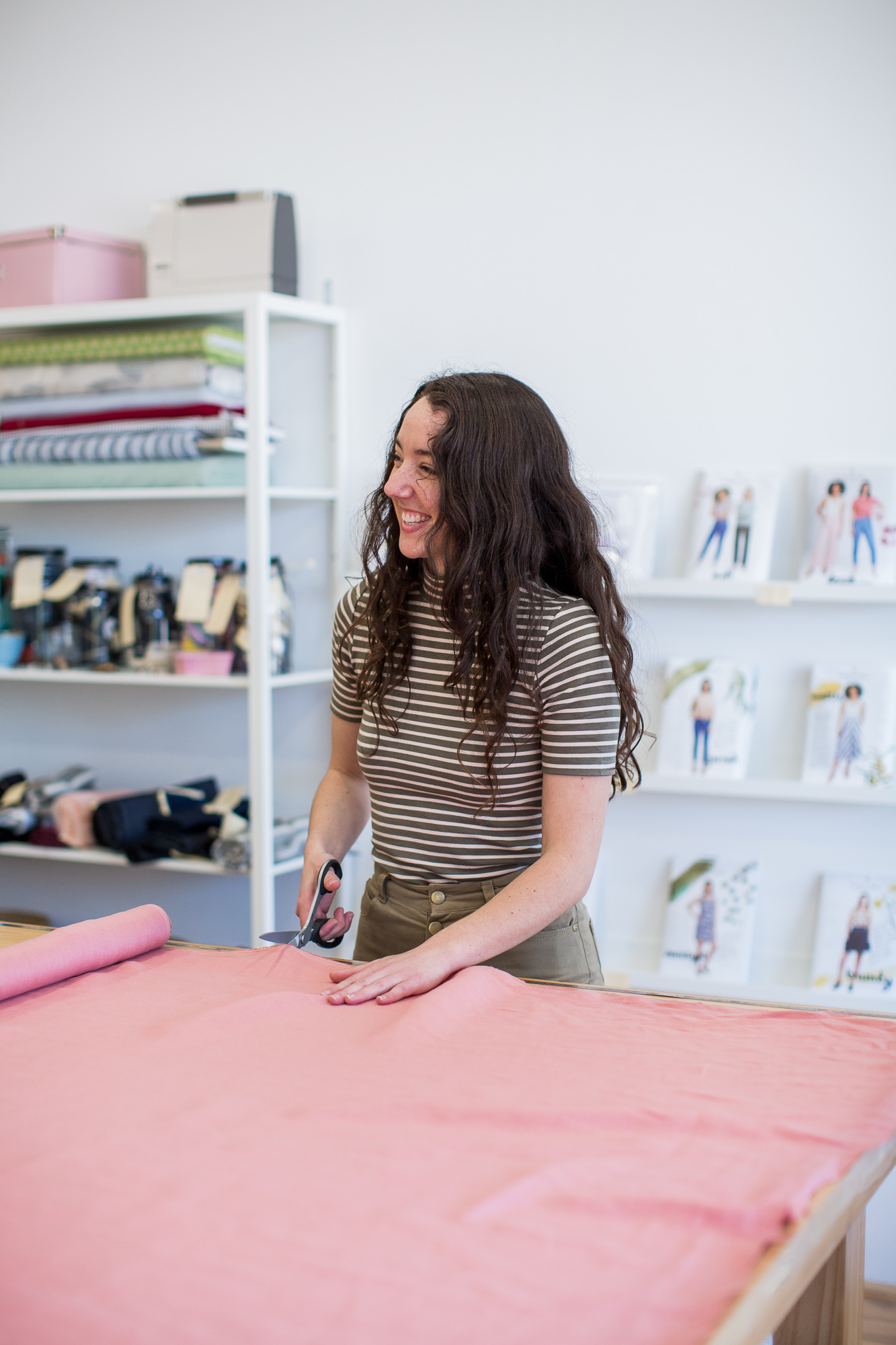 Sewing Community Project Behind the Scenes - Naomi helping everyone with their fabric & pattern choices!
