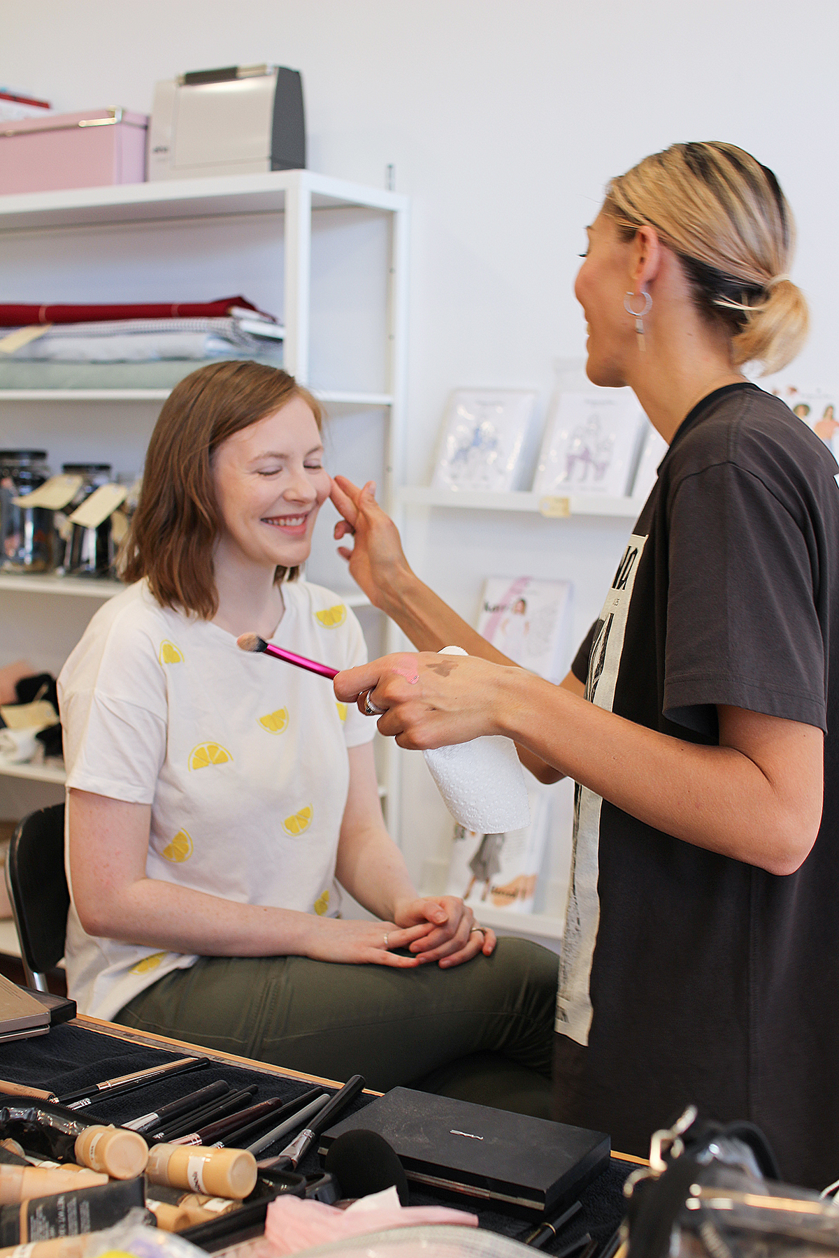 Sewing Community Project: Behind The Scenes - Julia Getting Her Make-Up Done