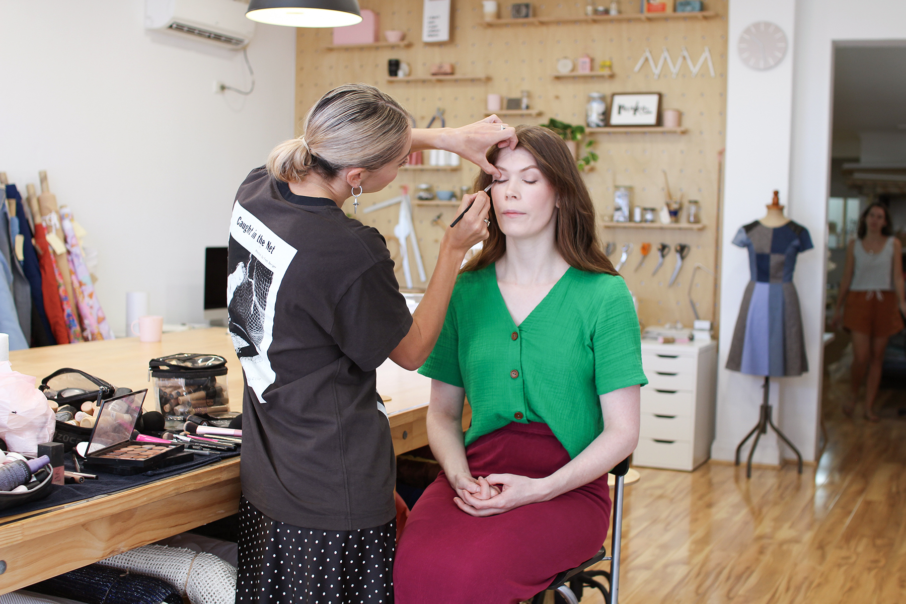 Sewing Community Project: Behind The Scenes - Roz Getting Her Make-Up Done