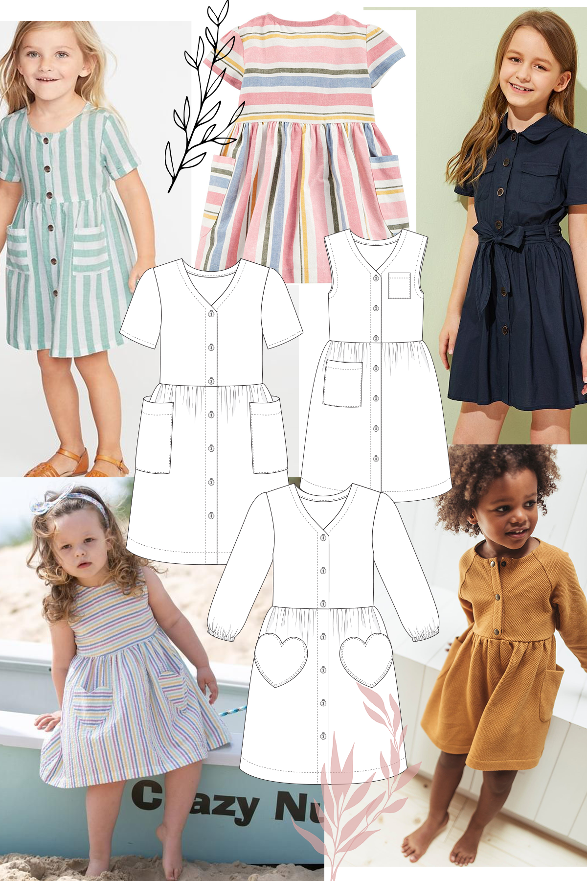 Add some beautiful patch pockets in all shapes to your Mini Darling Ranges dress.