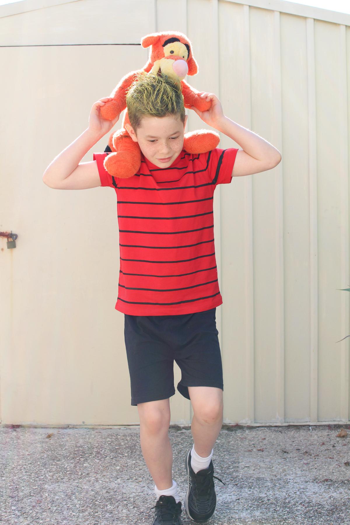 Easy Calvin and Hobbes DIY costume for Book Week or Halloween