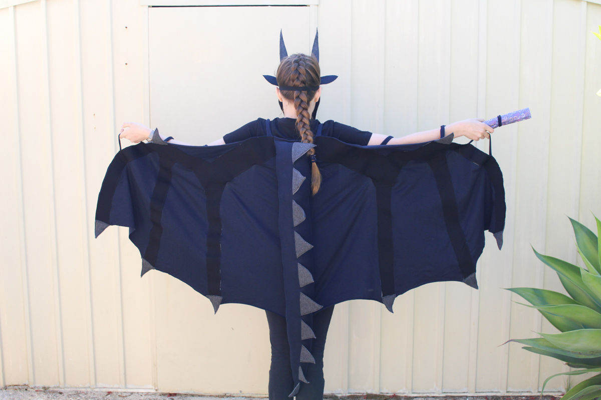 The back of a DIY Wings of Fire Moon dragon costume