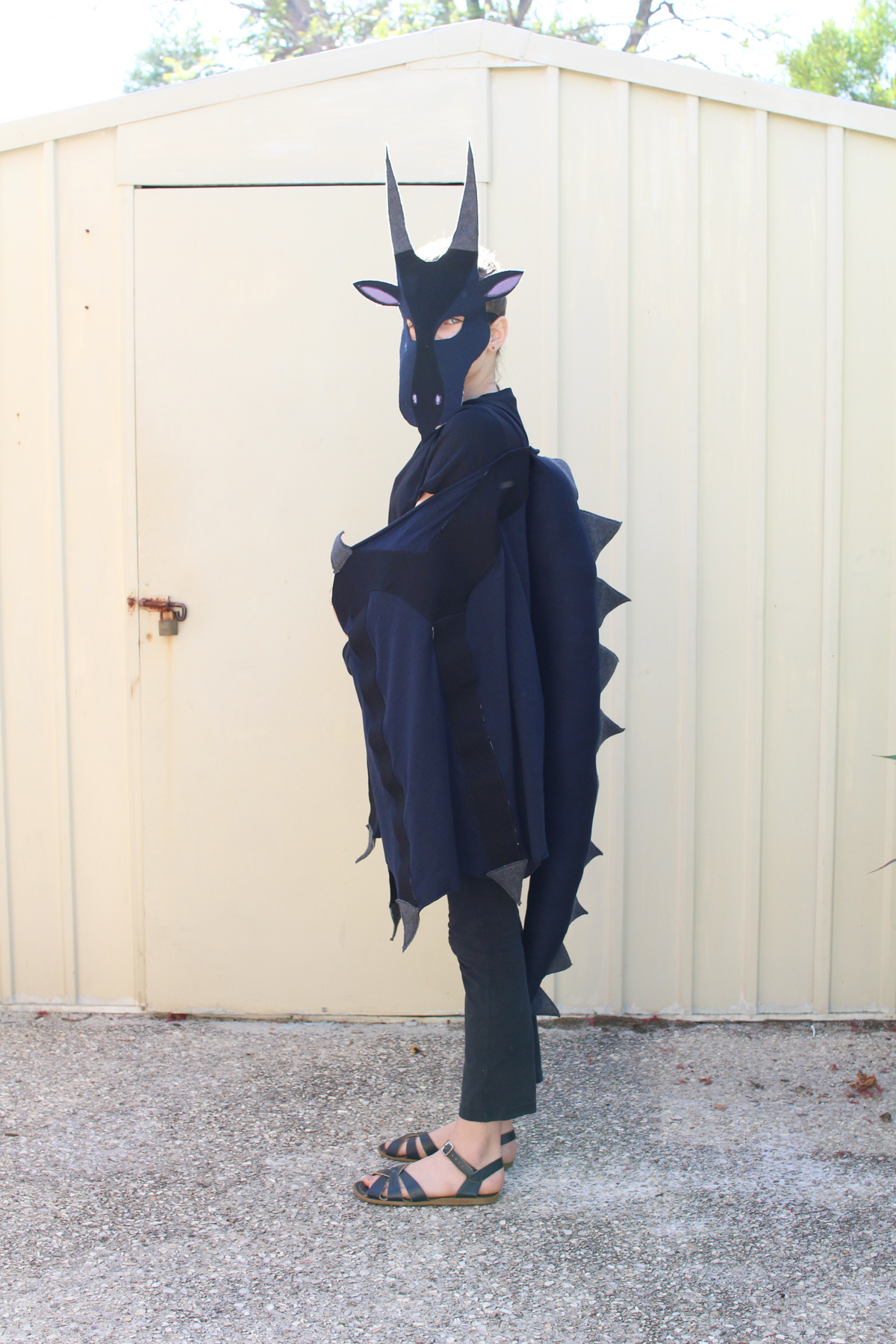Side view of Wings of Fire Moon costume