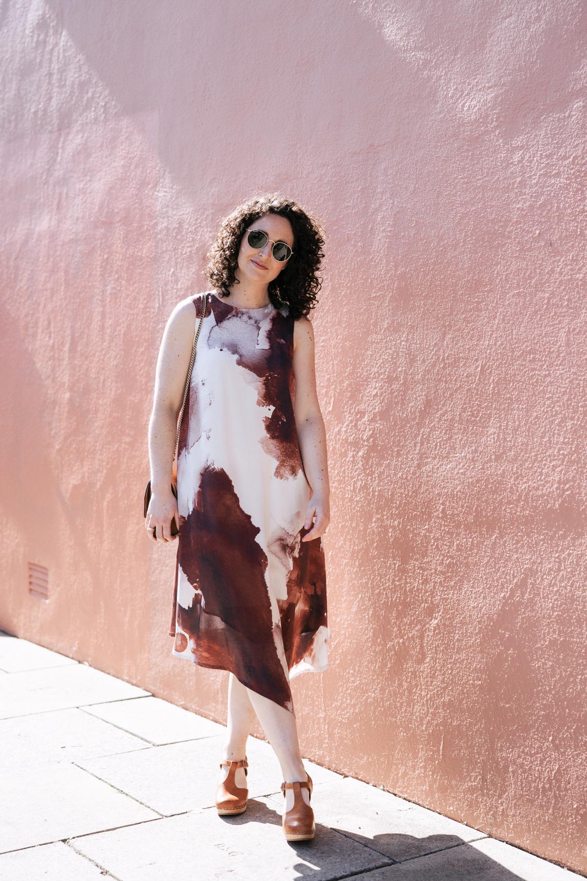 Megan Nielsen Floreat dress made from designer remnant silk