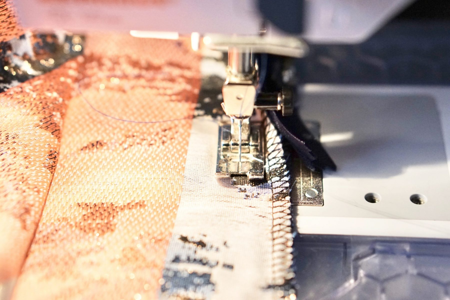 Switch to a regular sewing machine foot
