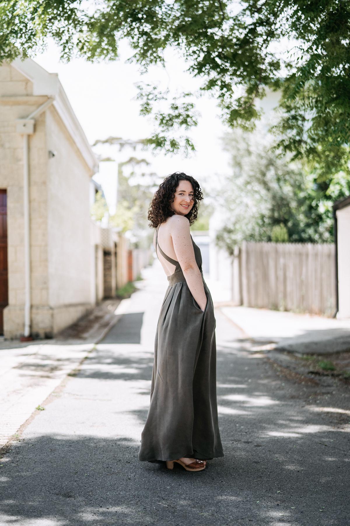 Side view of Megan Nielsen's Nora dress