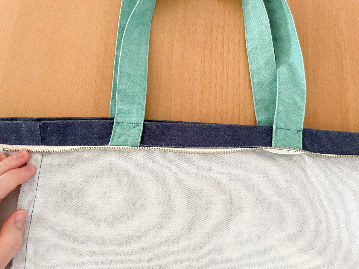 How to Add a Zip to a Tote Bag | Step 9, Fold down top edge. Megan Nielsen Patterns Blog