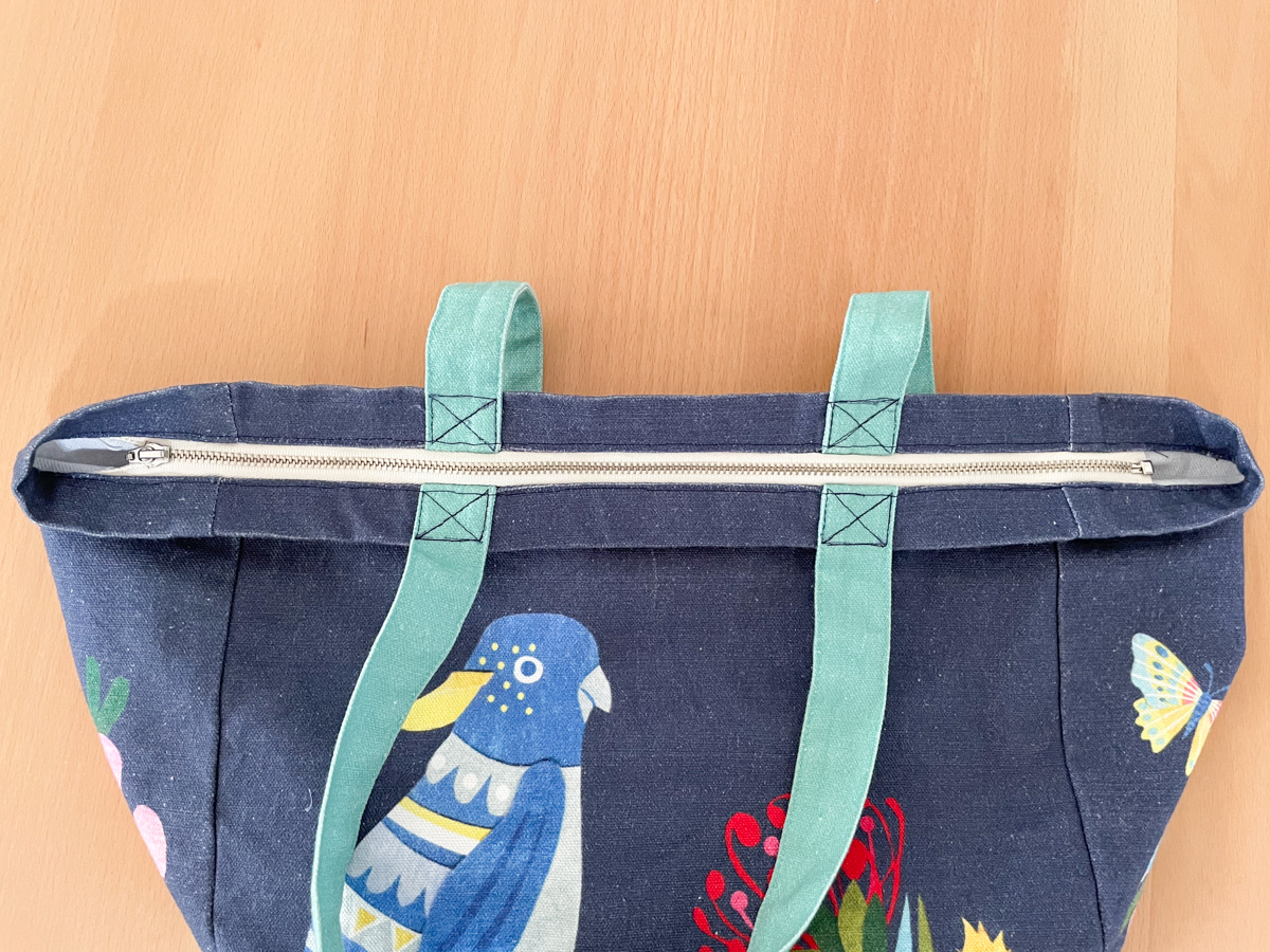 How to Add a Zip to a Tote Bag | Step 10, Sew opening closed. Megan Nielsen Patterns Blog