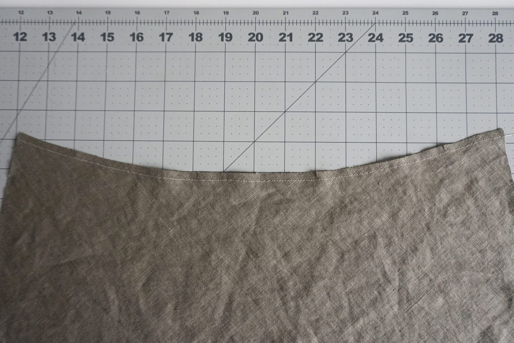 """Next prep the camisole back by staystitching 1/4"""" (6mm) from the raw edge."""