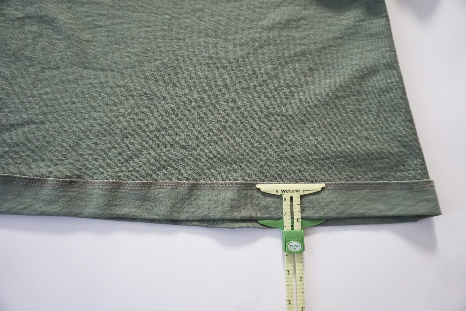 "Turn up your hem 1.25"" (3.1cm) and press."
