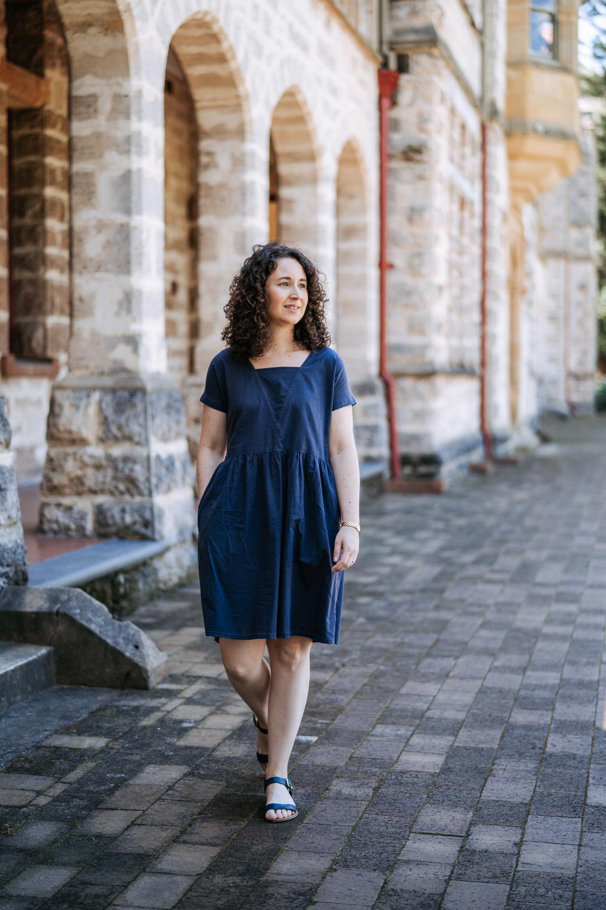 Megan Nielsen Olive dress sewing pattern made in Navy poplin