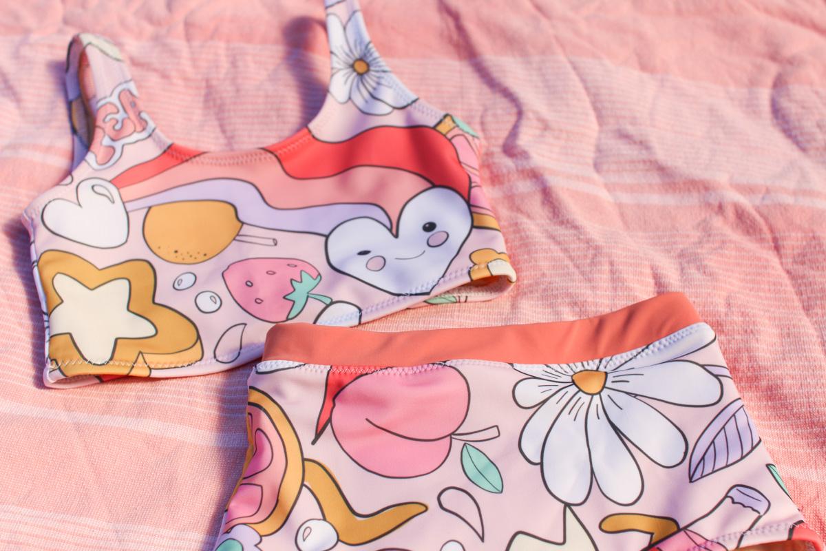Birdie's Mini Cottesloe Swimsuit made from Ellie Whittaker Peachy Keen swim lycra