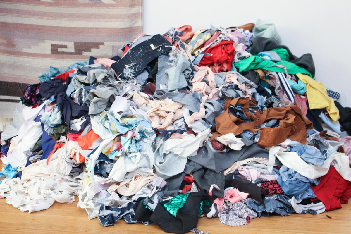 Filling A Kickboxing Bag With Fabric Scraps | Megan Nielsen Blog