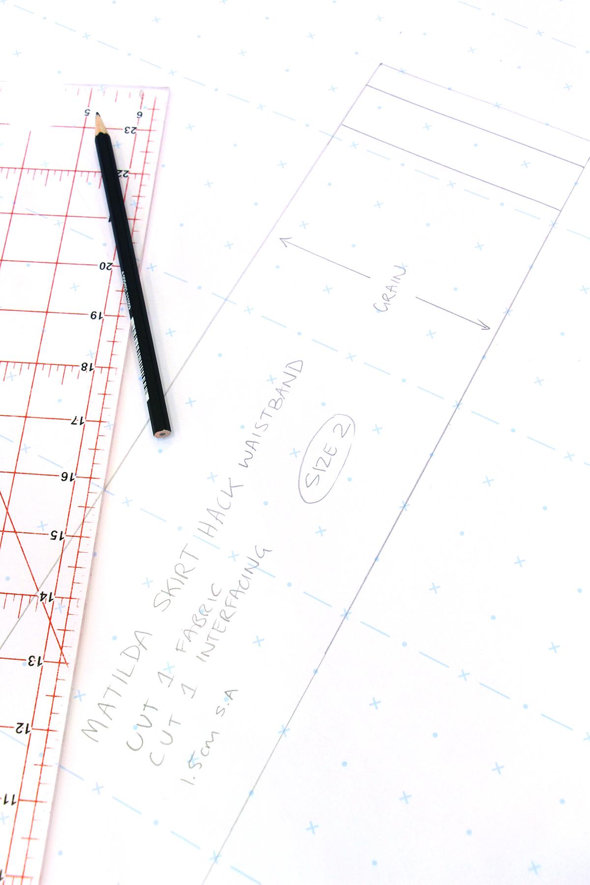 Megan Nielsen Patterns   Matilda Sewalong: Matching Set Hack   Drafting Your Skirt Waistband