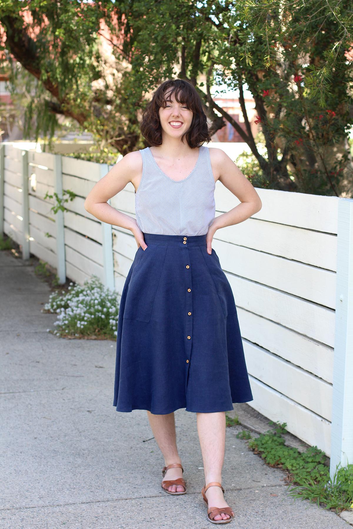 Megan Nielsen Patterns   Matilda Sewalong: Matching Set Hack   The Matilda Skirt & Eucalypt Tank Combo