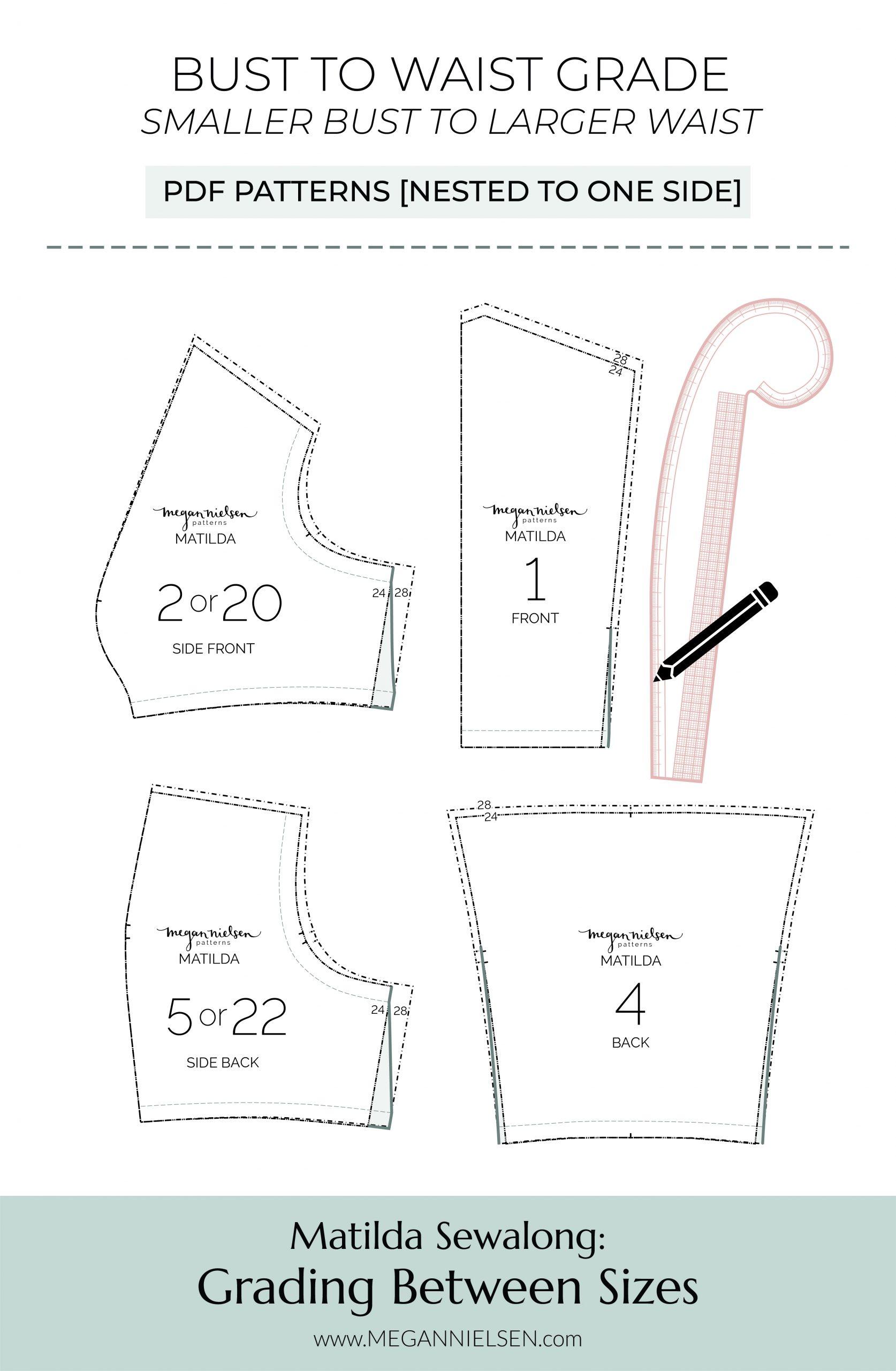 Megan Nielsen Patterns   Matilda Sewalong: Grading Between Sizes - Smaller Bust To Larger Waist Grade - PDF Patterns