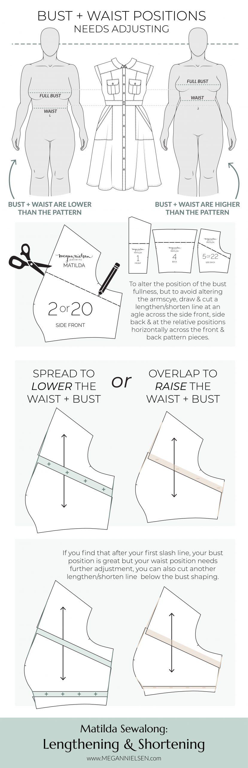 Megan Nielsen Patterns | Matilda Sewalong: Lengthening & Shortening - Adjusting The Bust & Waist Position