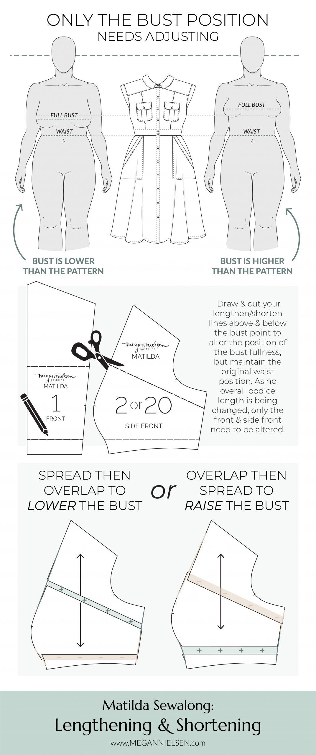 Megan Nielsen Patterns | Matilda Sewalong: Lengthening & Shortening - Adjusting The Bust Position