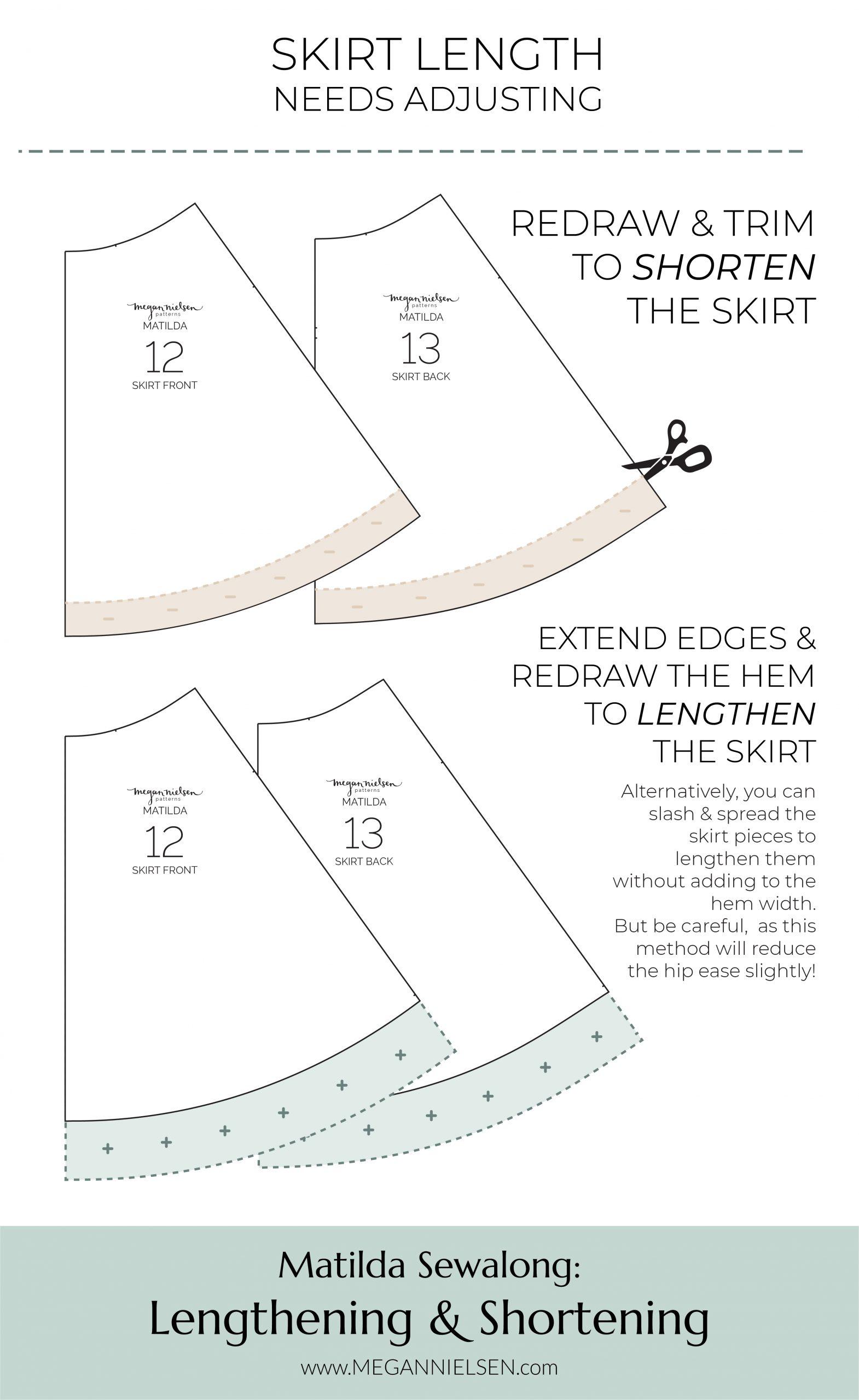 Megan Nielsen Patterns | Matilda Sewalong: Lengthening & Shortening - Adjusting The Skirt Length