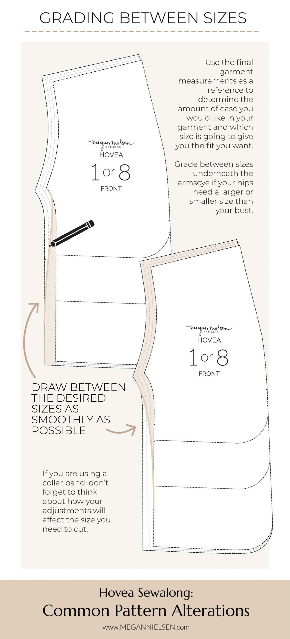 Megan Nielsen Patterns | Hovea Sewalong: Common Pattern Alterations | Grading Between Sizes