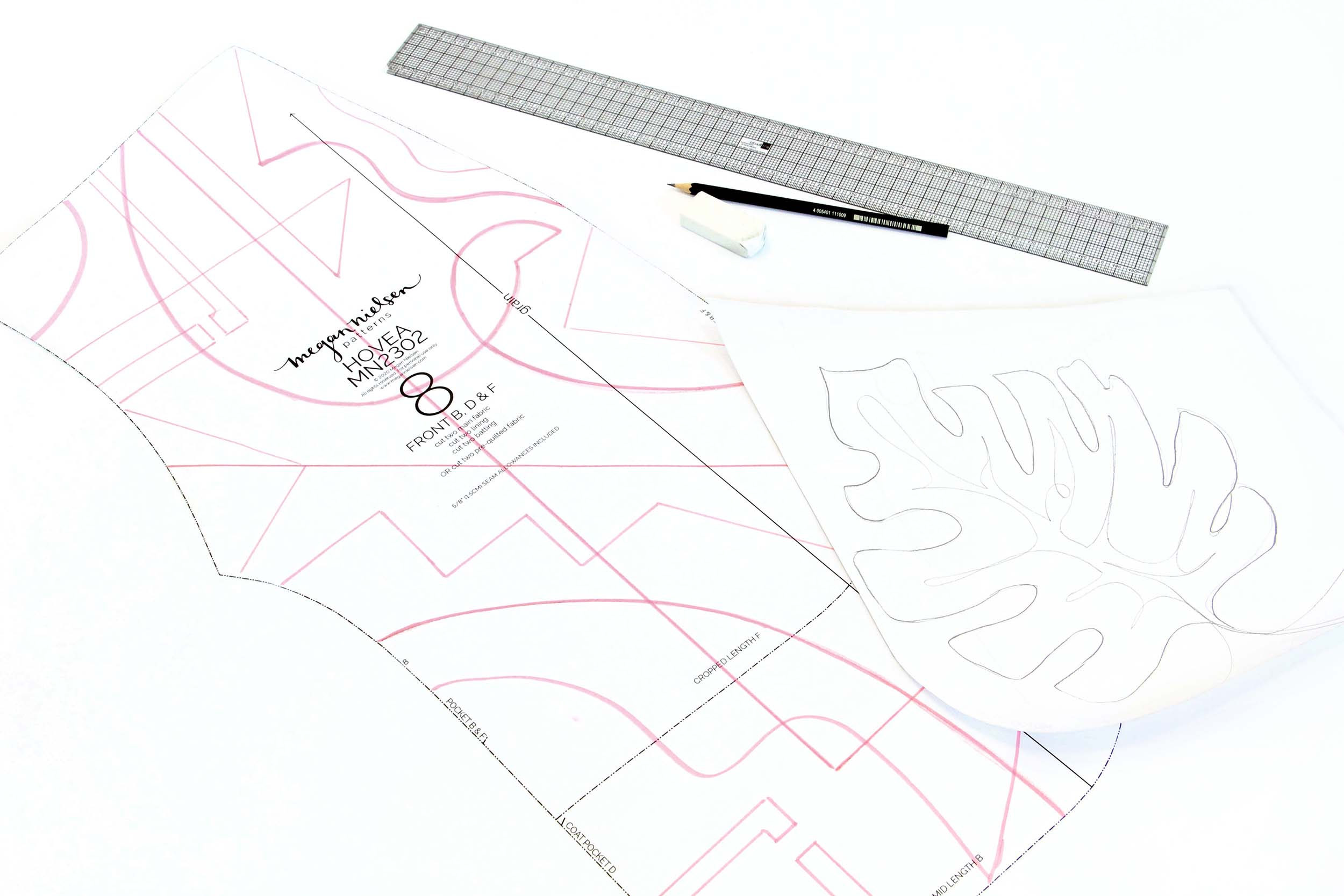Megan Nielsen Patterns | Hovea Sewalong: Quilting Design | Drawing On Your Pattern Pieces For Full Scale Planning