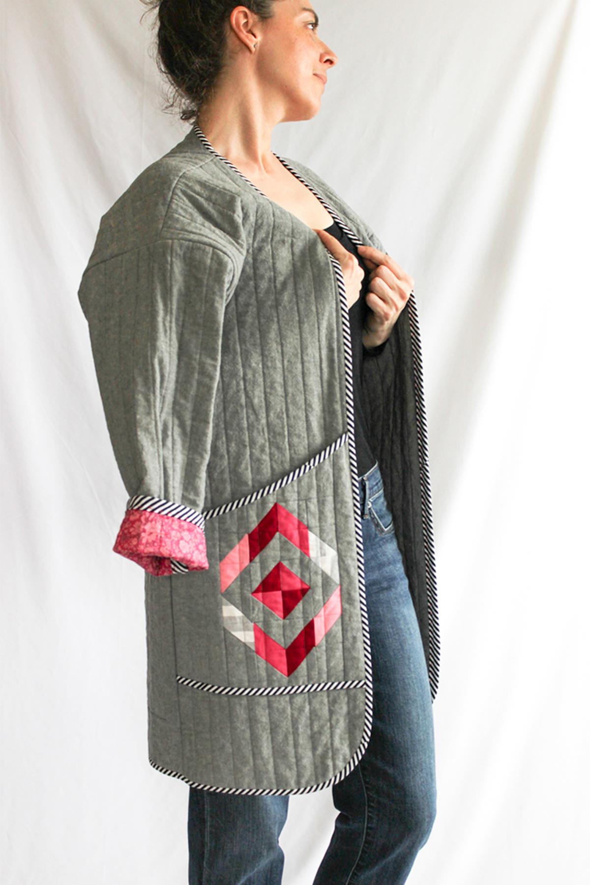 Shannon Fraser Etched Diamond quilt design on Hovea Quilt Coat | Megan Nielsen Patterns Blog