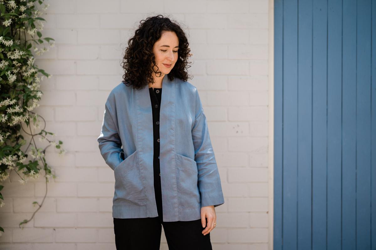 Unlined Hovea jacket made from linen for summer | Megan Nielsen Patterns